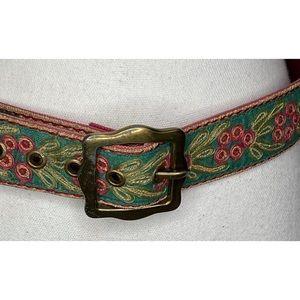LUCKY BRAND Embroidered Belt Burlap Canvas Boho 32